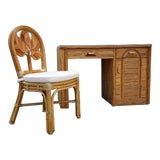 Image of Tropical Boho Chic Pencil Reed Rattan Desk With Chair For Sale