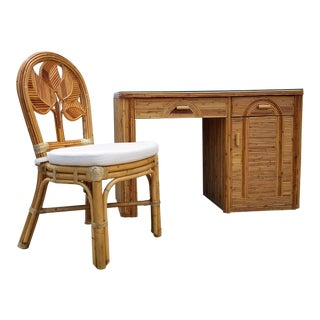 Tropical Boho Chic Pencil Reed Rattan Desk With Chair For Sale