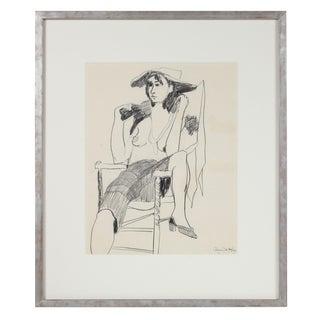 """The Fox Fur"" Seated Modernist Figure in Graphite, 1950s"
