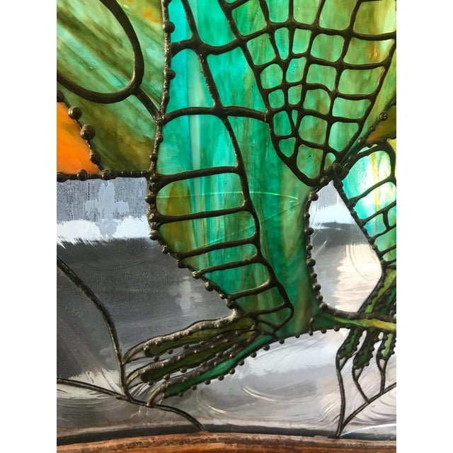 Dragon Stained Glass Panel Artist Signed With Wood Frame For Sale In Las Vegas - Image 6 of 11
