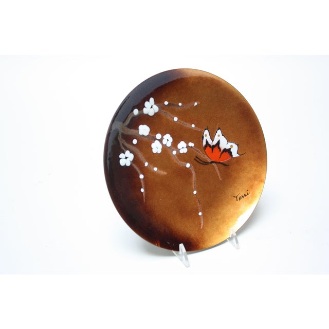 Striking Mid-Century Modern enamel on copper decorative dish by Bovano of Connecticut. This example, whose primary...