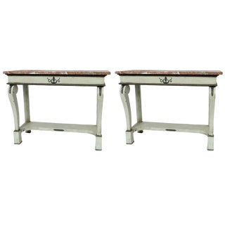 "Pair of French ""Green/Grey"" Console Tables With Marble Tops For Sale"