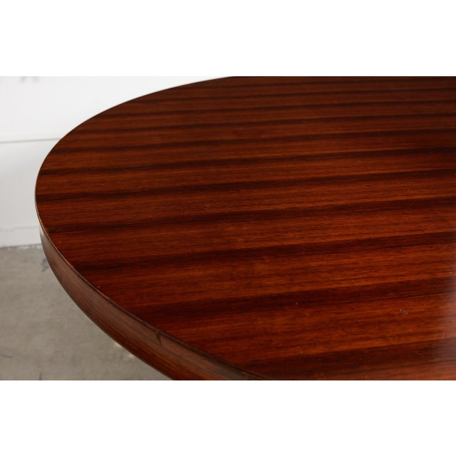 Italian Round Pedestal Dining Table of Palisander Wood For Sale - Image 9 of 12