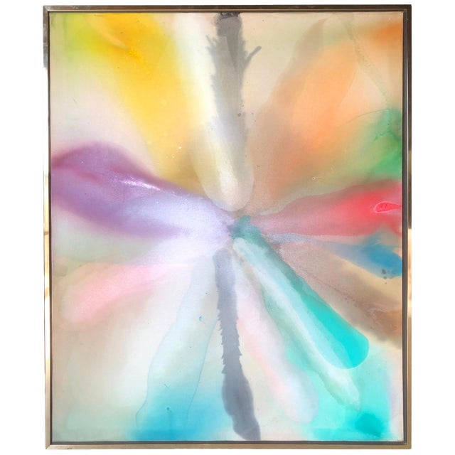 Large Colorful Vintage Abstract Painting by Canadian Artist Harold Feist For Sale