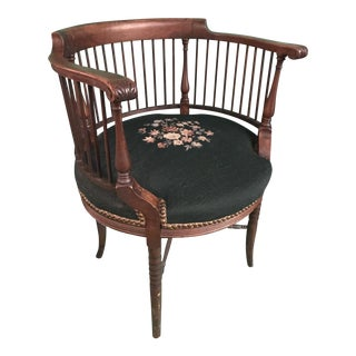 Needlepoint Round Corner Chair For Sale
