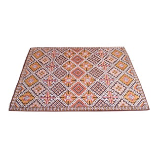 Vintage Hand Knotted Berber Wool Tribal Rug For Sale
