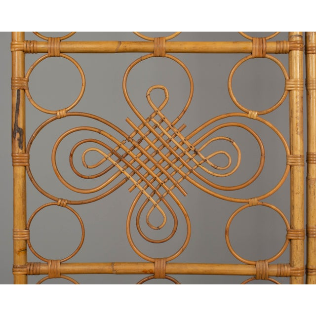 Mid Century French Riviera Bamboo and Rattan Screen For Sale In Orlando - Image 6 of 9