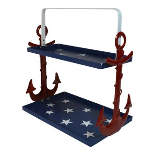 Red White & Blue Nautical 2 Tier Serving Tray with Handle For Sale