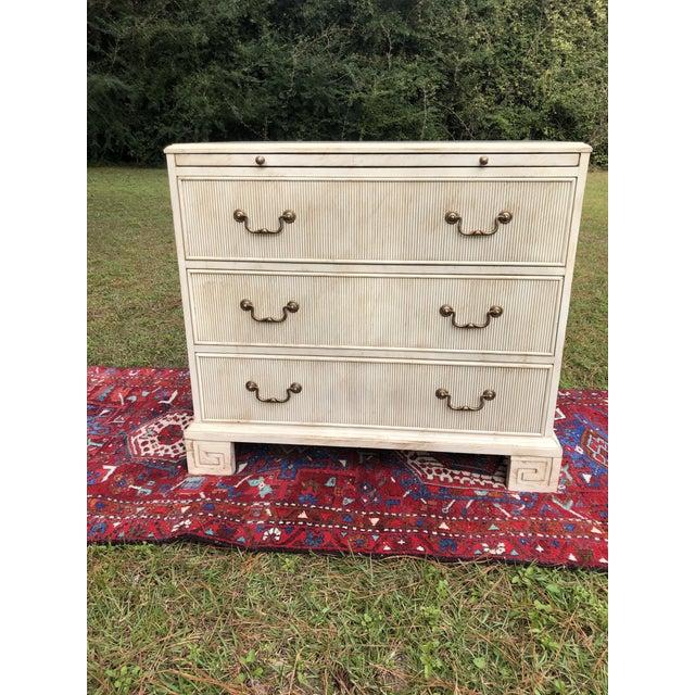 Hickory White Chest With Flutted Drawers and Greek Key Legs For Sale - Image 12 of 13
