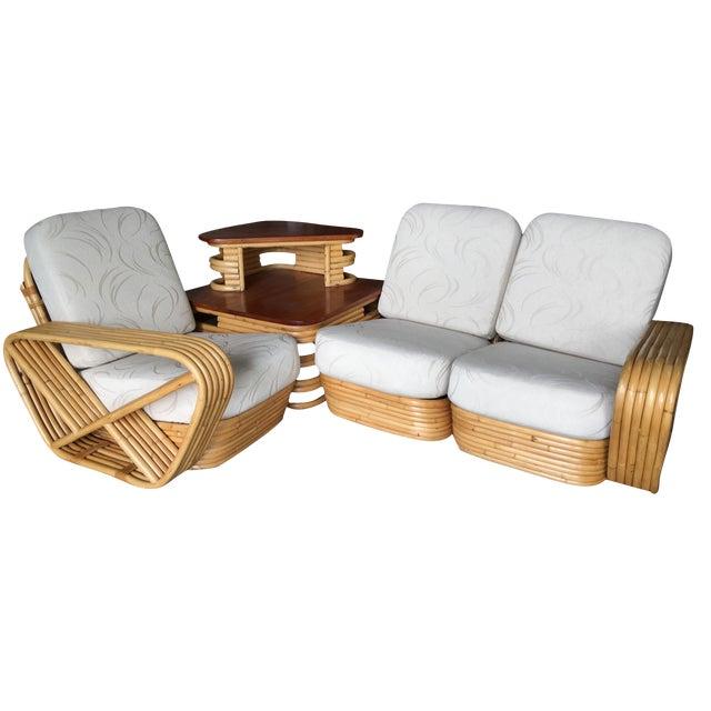 Restored Six-Strand Square Pretzel Sectional Rattan Corner Sofa W/ Side Table For Sale