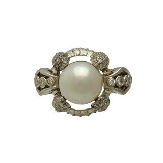 Art Deco Platinum Diamond and Pearl Ring For Sale