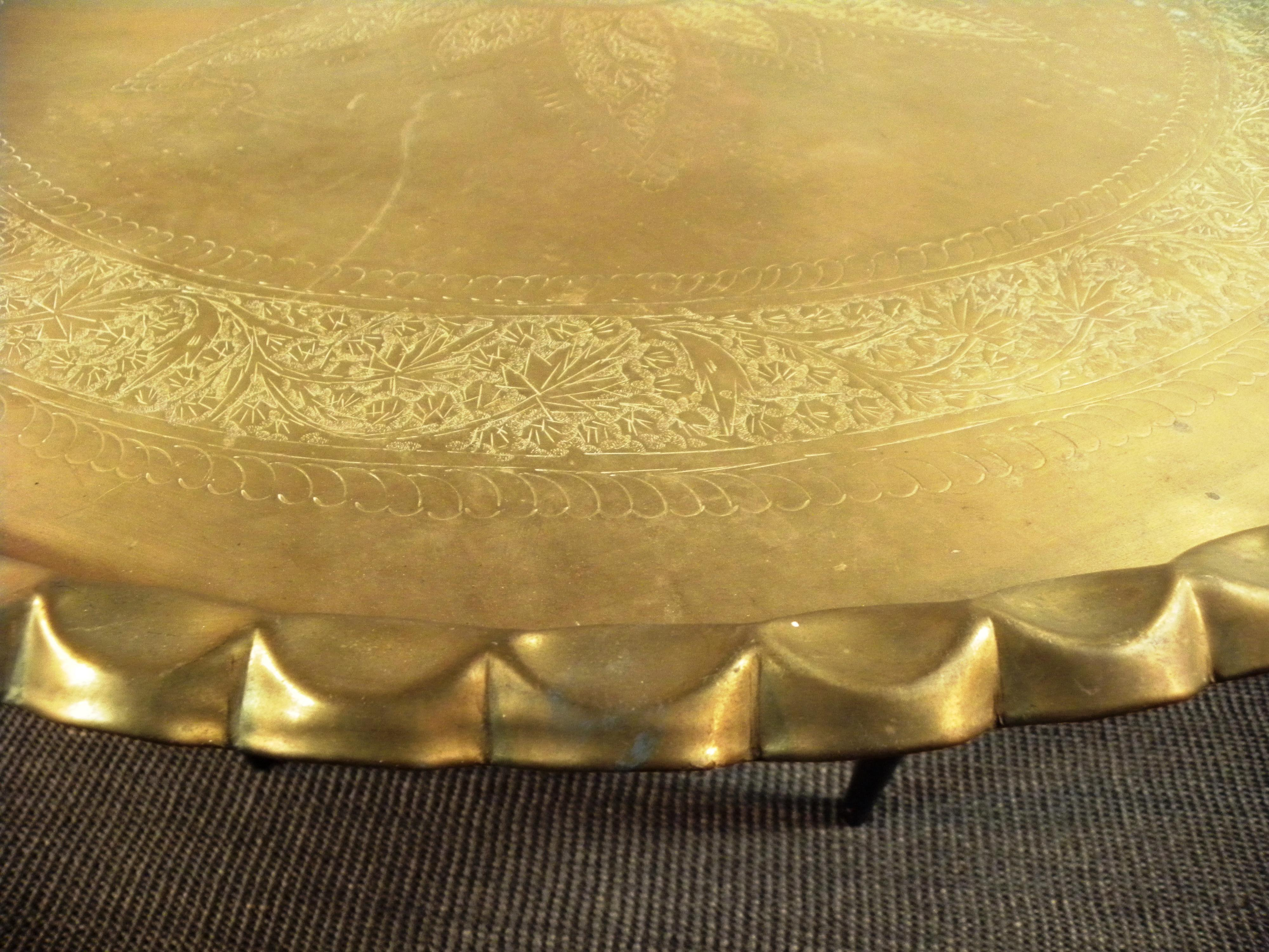 Charmant Mid Century Brass Moroccan Folding Coffee Table   Image 6 Of 8
