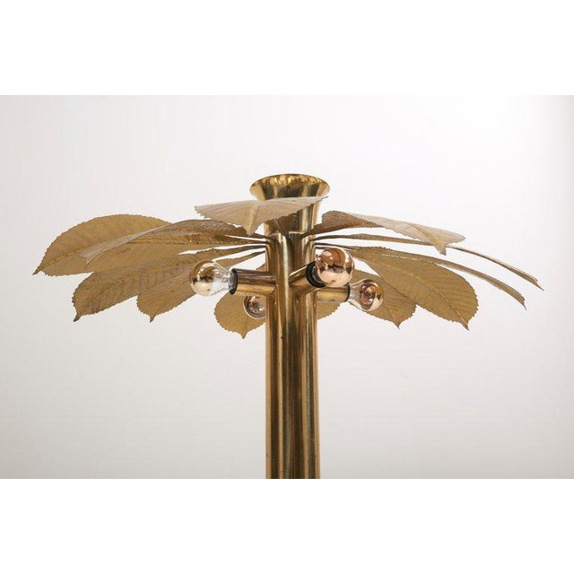 Metal Rare and Impressive Brass Rhaburb Floor Lamp by Tommaso Barbi For Sale - Image 7 of 11