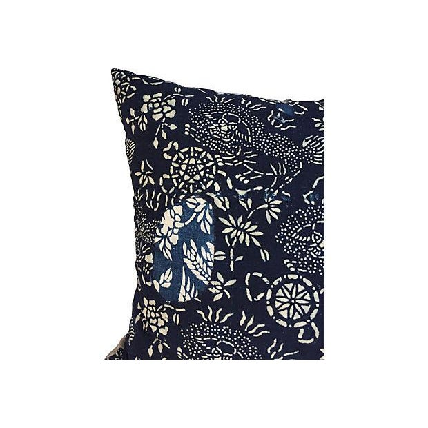 A pair of custom-made pair of pillows from a foo dog pattern vintage cotton batik fabric purchased in Shanghai, China....