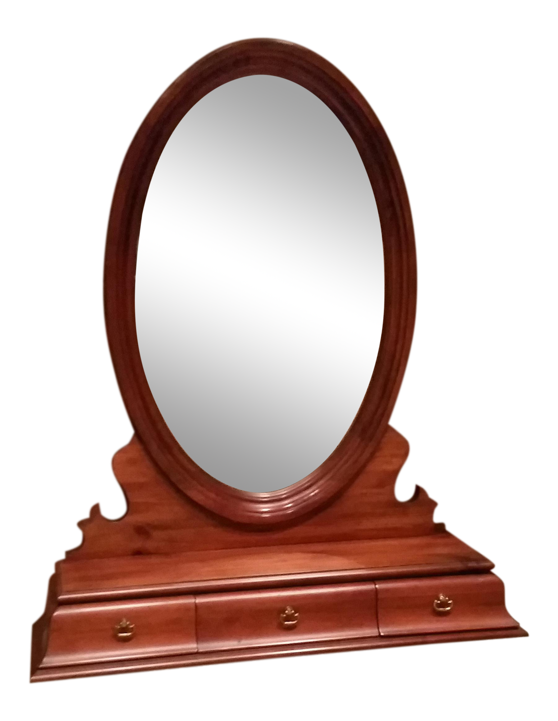 Oval Table Or Dresser Top Mirror With 3 Small Drawers   Get It Before It Is