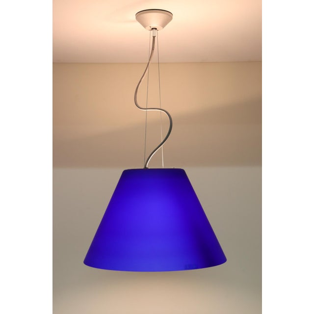 Carlo Nason Pendant Light Murano Hand Blown Glass Satin Blue with White Interior. Hardware: grey embossed and white...
