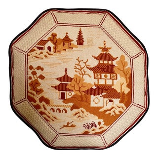 Large Octagonal Vintage Needlepoint Pillow For Sale