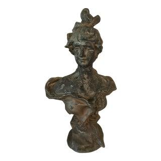 Antique Art Nouveau Craved Ceramic Woman Bust For Sale