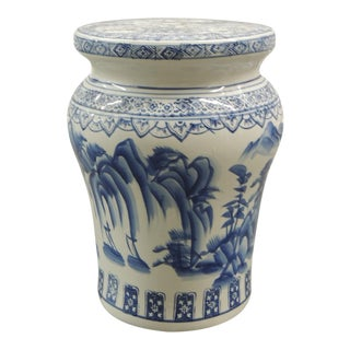 Vintage Blue and White Round Ceramic Garden Stool