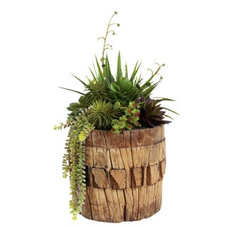 Old Wood Axel with Faux Succulents