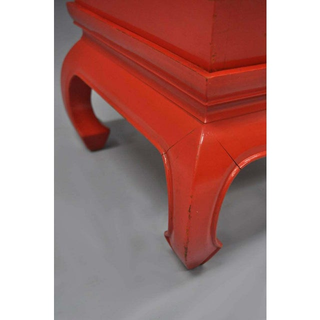 Chinoiserie Red Lacquer Oriental Pedestal Planter For Sale - Image 9 of 11