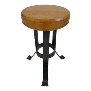 Industrial Wood and Steel Stool For Sale