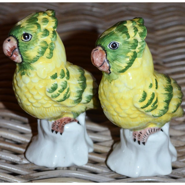 Italian 1970s Italian Majolica Pottery Parakeets - a Pair For Sale - Image 3 of 11