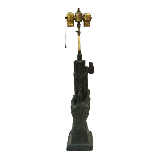 Casandri & Gattai Antique Bronze Hand Sculpture Lamp Cast by Roman Foundry - Image 1 of 11