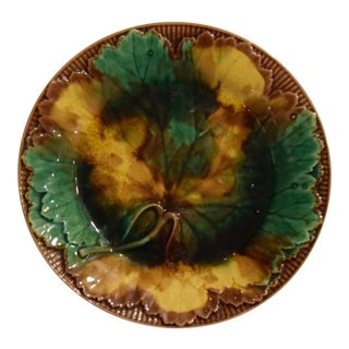 Vintage English Majolica Plate For Sale