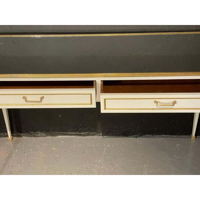 Jansen Hollywood Regency Style Console / Sofa Tables, Mirrored & Painted - a Pair For Sale - Image 12 of 13