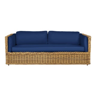 Wicker Works Squareback Sofa in Pacific Blue For Sale