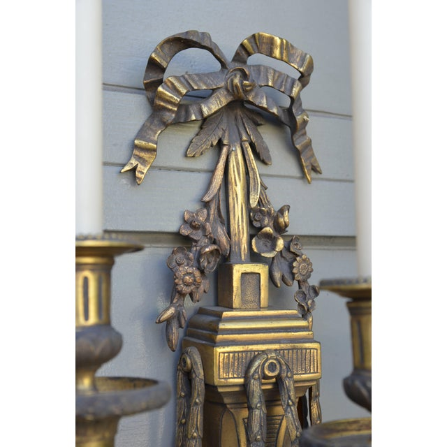 Pair of Monumental Gilt Bronze Louis XVI Style Sconces For Sale In Los Angeles - Image 6 of 8
