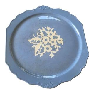 Springtime Vintage Harker Blue Cameo Ware Cake Plate