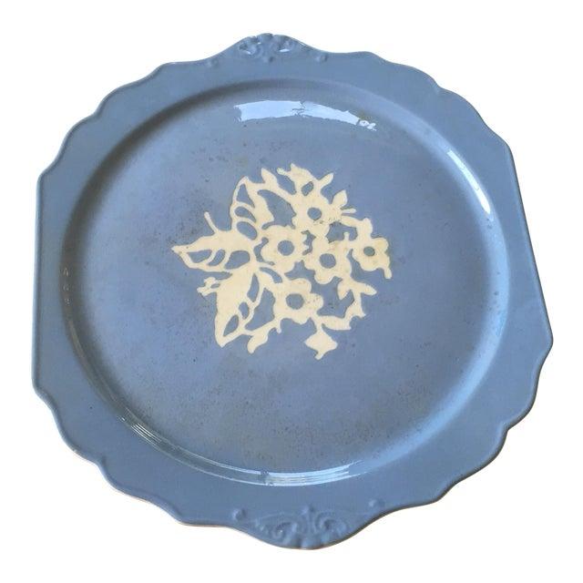 Springtime Vintage Harker Blue Cameo Ware Cake Plate For Sale