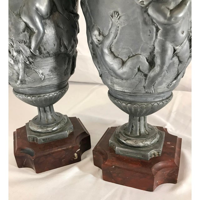 Marble 19th Century French Neoclassical Pewter on Marble Urns - a Pair For Sale - Image 7 of 13