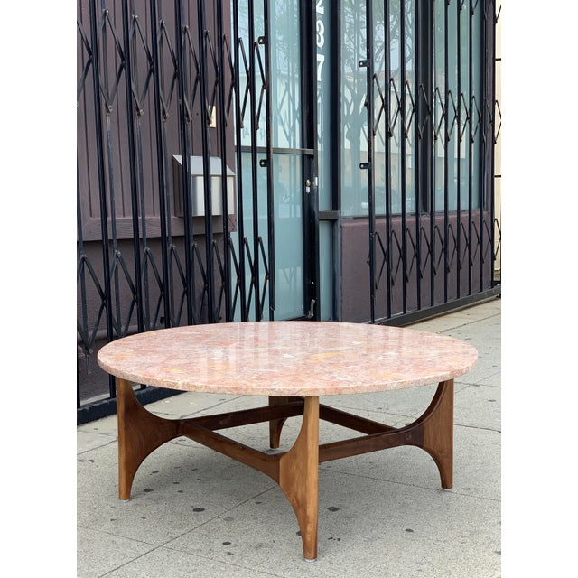 Marble Top With Walnut Base Coffee Table made in house here at Vintage On Point in Los Angeles, California. Marble top...