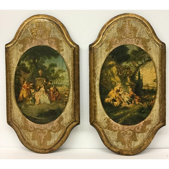 1950s Italian Hand Carved Wood Framed Prints - a Pair For Sale - Image 5 of 13