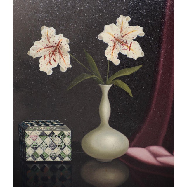 Traditional Tilly Moes (1899-1979) Still Life W/ Lilies C.1950 For Sale - Image 3 of 10