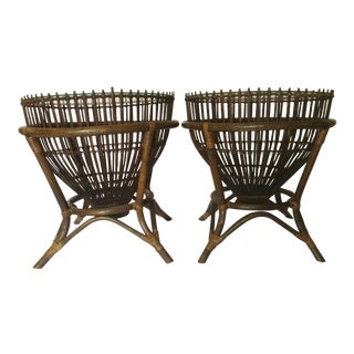 20th Century Boho Chic Fish Trap Basket Tables - a Pair For Sale