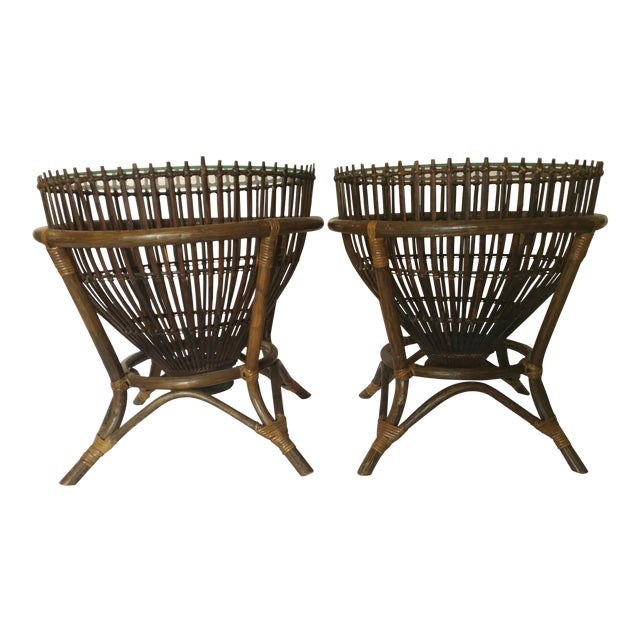 20th Century Boho Chic Fish Trap Basket Tables - a Pair