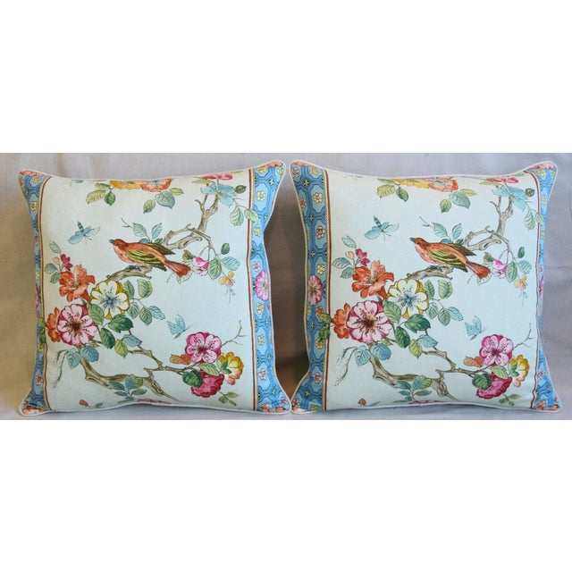 Pair of large custom-tailored pillows in unused English chinoiserie printed fabric depicting a beautiful and colorful...