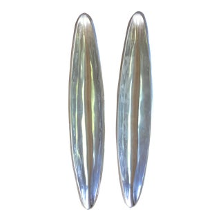 Long Modern Silver Boat Style Containers - a Pair