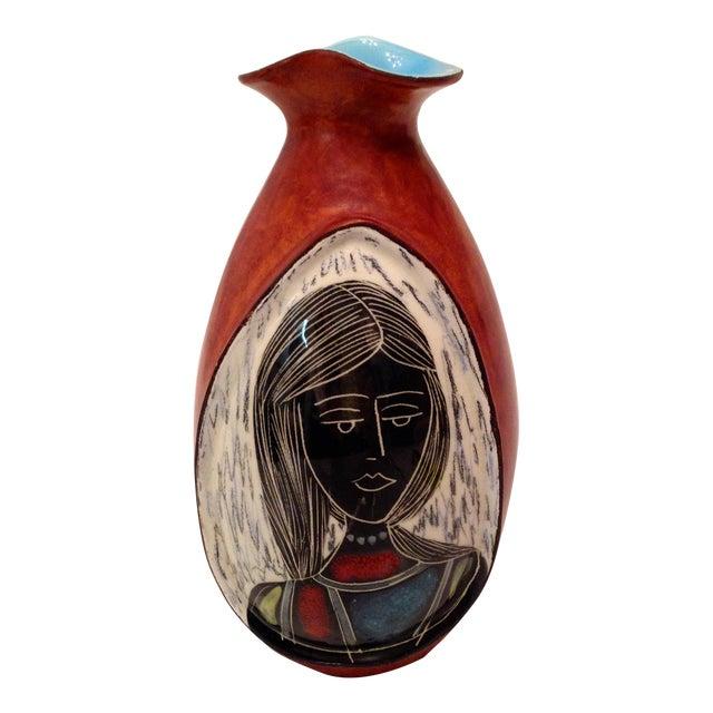 Marcello Fantoni Italian Modernist Leather Vase Chairish