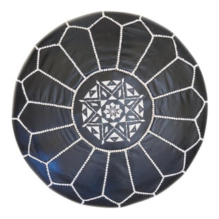Moroccan Black Leather Ottoman For Sale