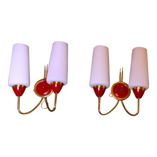 Mid-Century Maison Arlus Red and Brass Sconces - a Pair For Sale