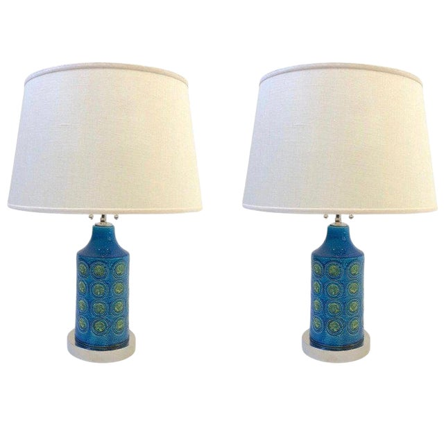 Italian Ceramic and Nickel Table Lamps by Bitossi - a Pair For Sale