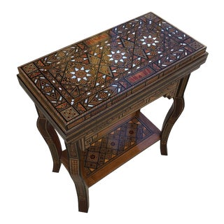 Moorish Marquetry Inlaid Folding Game Table For Sale