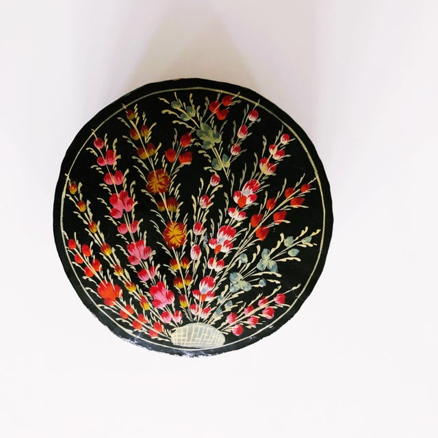 Hand-Painted Floral Coaster Set For Sale In Austin - Image 6 of 6