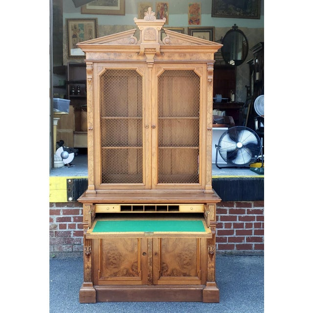 This is an extremely fine palatial size antique mid 19th Century Eastlake Victorian butler's secretary desk, c1860s. Made...
