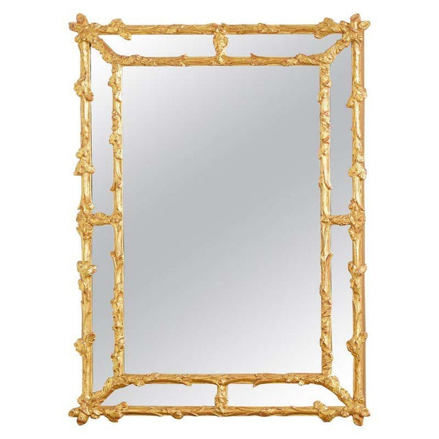 Italian Carved Gilt Wood Faux Bois Cushion Mirror For Sale - Image 13 of 13
